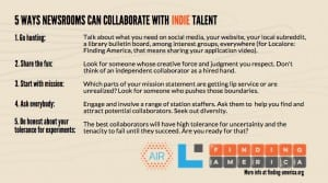 Graphic summary of five ways to collaborate with indie talent