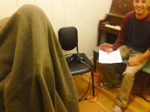 """At Marfa Public Radio in Texas, it's a blanket fort situation: """"Our Reporting Lab students recorded their narration today."""""""