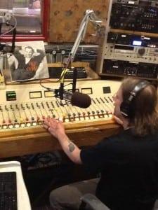 Mixing board and mic at KBOO.