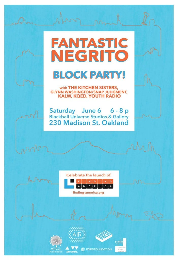 A poster advertising a June 6 block party in Oakland, with outlined skylines