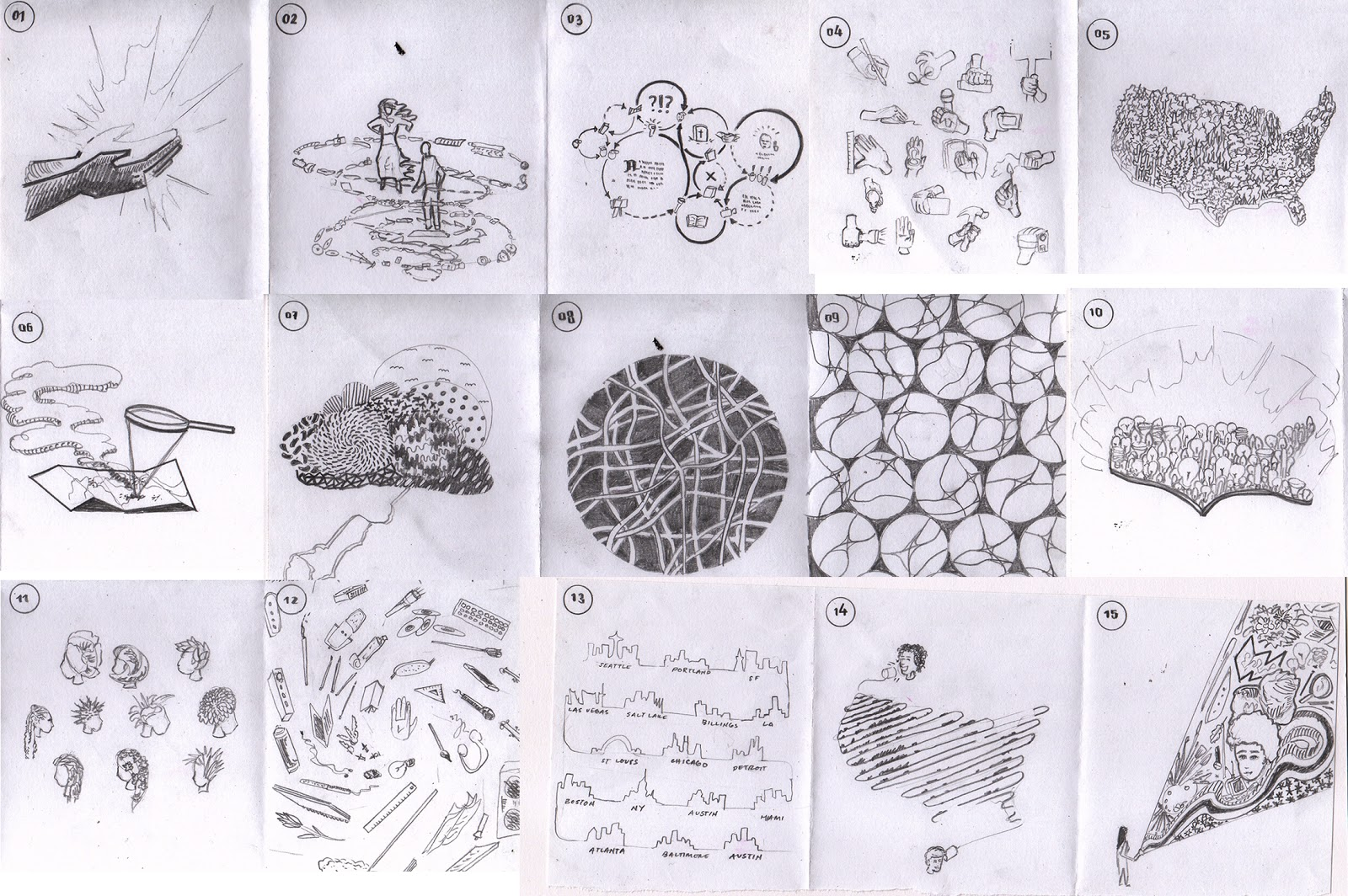 Twelve sketches of different possible looks for the poster -- mostly of a map of the United States covered by objects, or of a central object surrounded by tools.