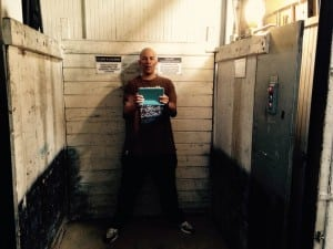 Field, the director of Blackball Universe, stands in the freight elevator that was home to Fantastic Negrito's Tiny Desk Concert Contest video