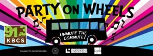 """An illustrated image of a bus with musical notes over a sunburst background, with the words """"Party on Wheels! Unmute the Commute!"""" in bold letters."""
