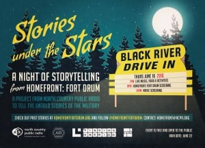 A promotional poster for Stories under the Stars, with a forest and full moon in the background, with a sign for the Black River Drive-In theater in the foreground