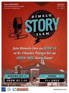 A poster for the Dímelo Story Slam, with an old-fashioned, square radio microphone above the outline of a city with a radio tower towering over it.