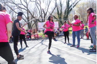 Women in the community performing the double dutch at Philly Girls Jump event
